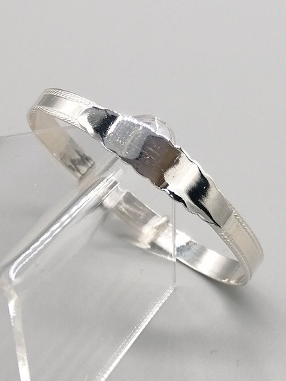925 Silver Bead Edge with Fancy ID Childs Bangle