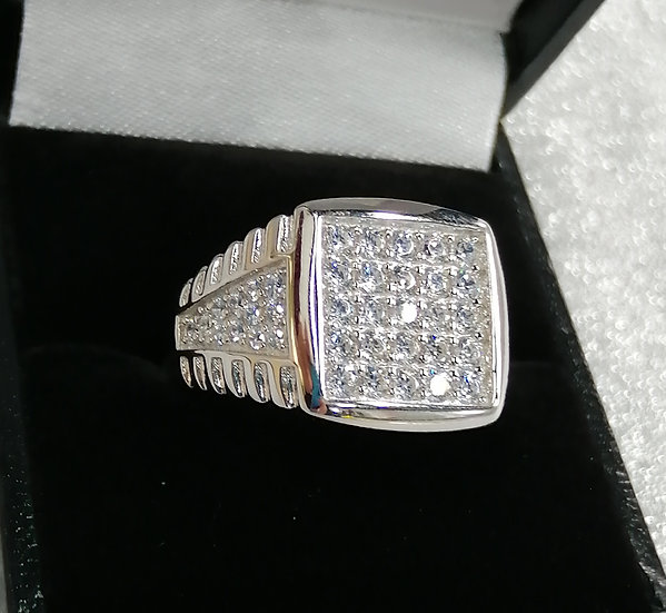 925 Silver Cubic Zirconia Square Ring