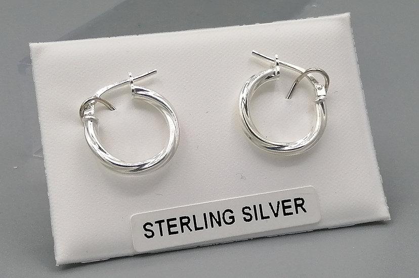 925 Silver Fine Cable Twist Hoop Earrings