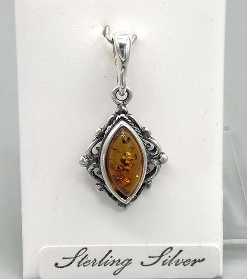 925 Silver Amber Marquise Vintage Pendant