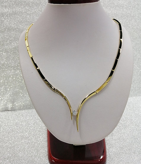 9ct Gold CZ Solitaire Collar Neckless