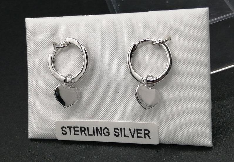 925 Silver Heart Huggie Earrings