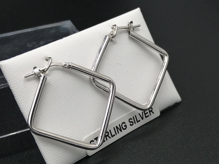 925 Silver Diamond Square Earrings