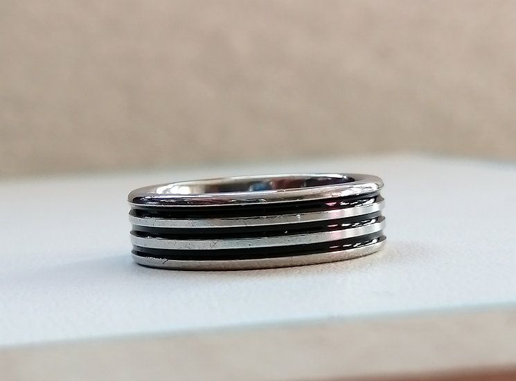 6mm Stainless Steel 3 Bands Ring