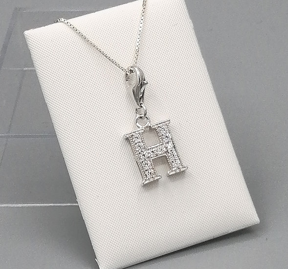 925 Silver Iced CZ Initial 'H'