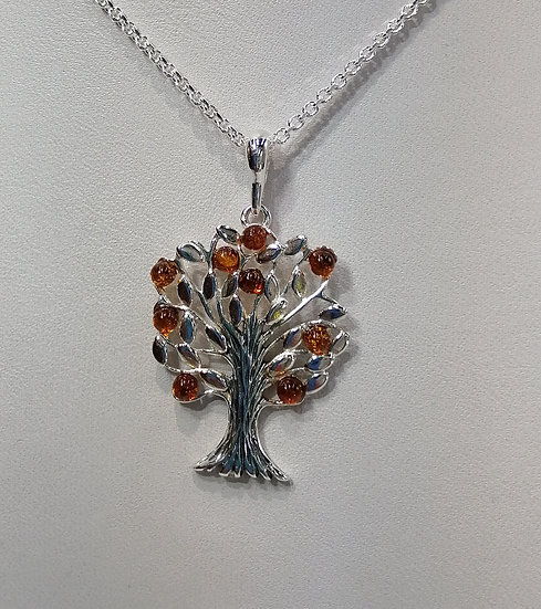 925 Silver Amber Tree of Life Tree Pendant