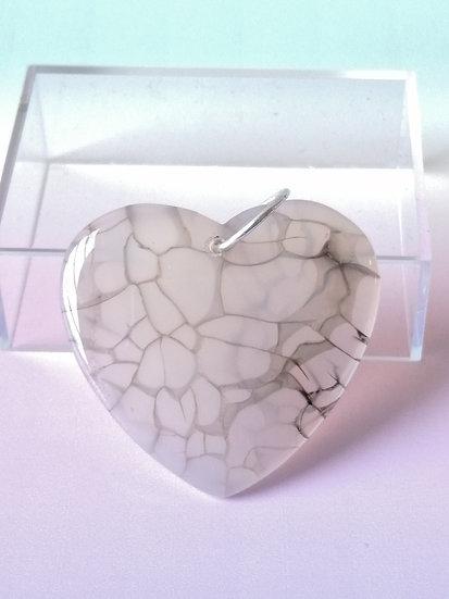 Moon Fleck Agate Heart Pendant