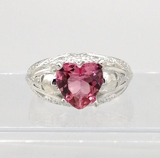 Pink Heart & White CZ Skull Ring