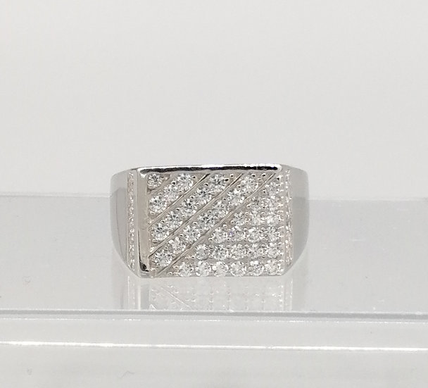 925 Silver Iced CZ Lined Rectangle Ring