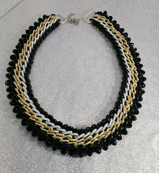Black & Gold Woven Crystal Necklace