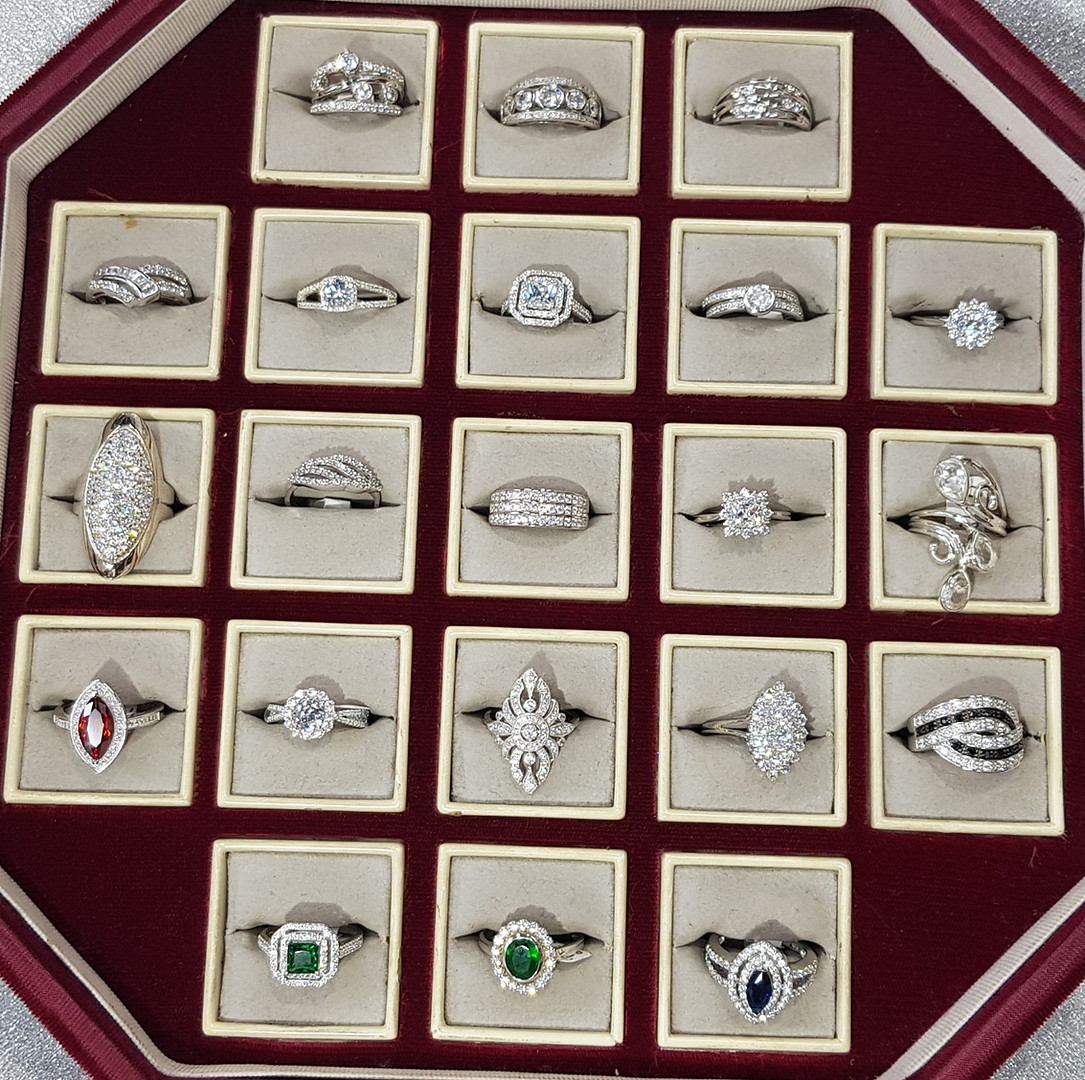 Shirleys 925 Sterling Silver Unique Cubic Zirconia Rings For Sale