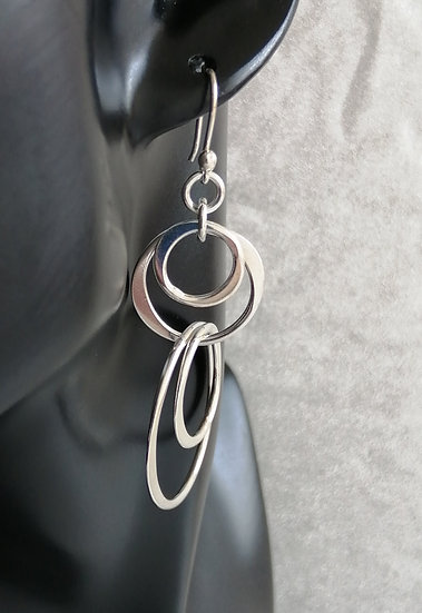 925 Silver Scatter Circles Drop Earrings