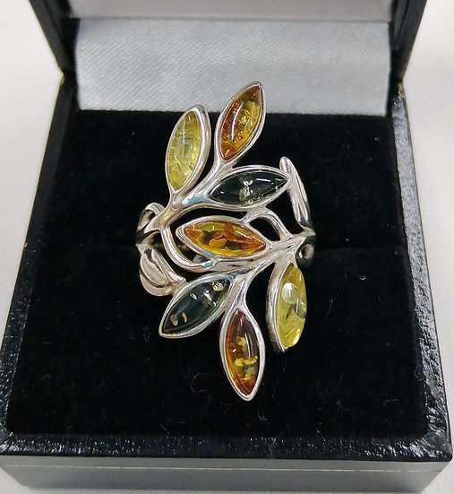 925 Silver Mixed Amber Leaf Art Ring