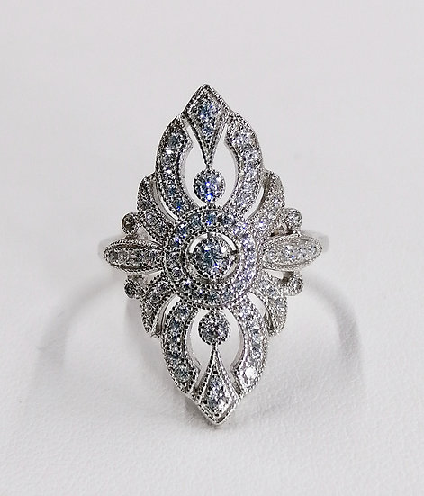 925 Silver CZ Fancy Filigree Marquise Ring