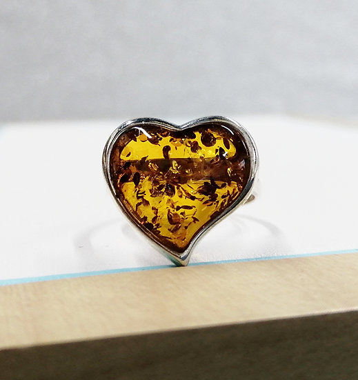 925 Silver Heart Baltic Amber Ring