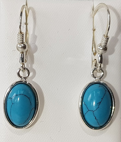 925 Silver Turquoise Oval Earrings