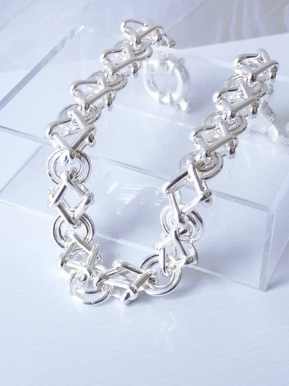 925 Silver Plain Circles & Diamonds Bracelet