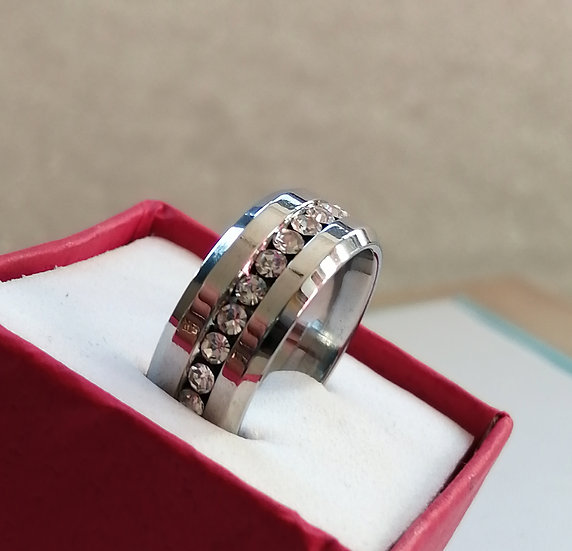 8mm White CZ Stainless Steel Band Ring