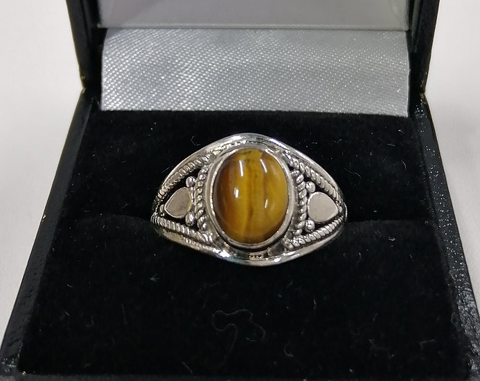 925 Silver Tigers Eye Dome Ring