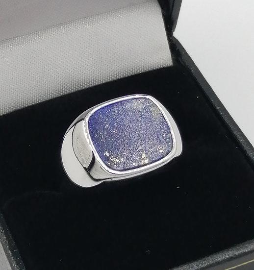925 Silver Lapis Signet Cushion Ring