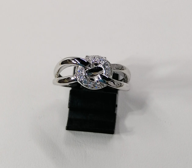 925 Silver CZ Love Knot Circle Top Ring