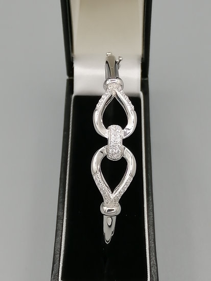 925 Silver CZ Iced Two Loops Bangle