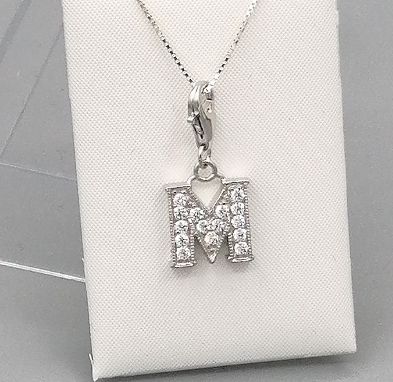 925 Silver Iced CZ Initial 'M'