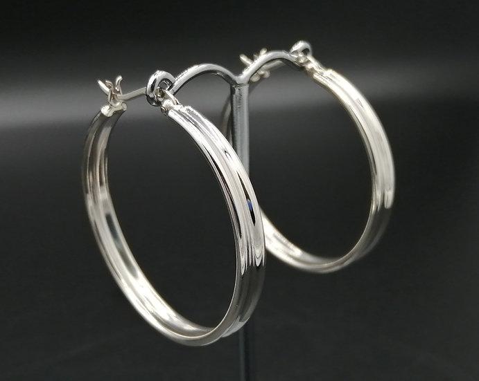 925 Silver Polished Ridged Hoop Earrings
