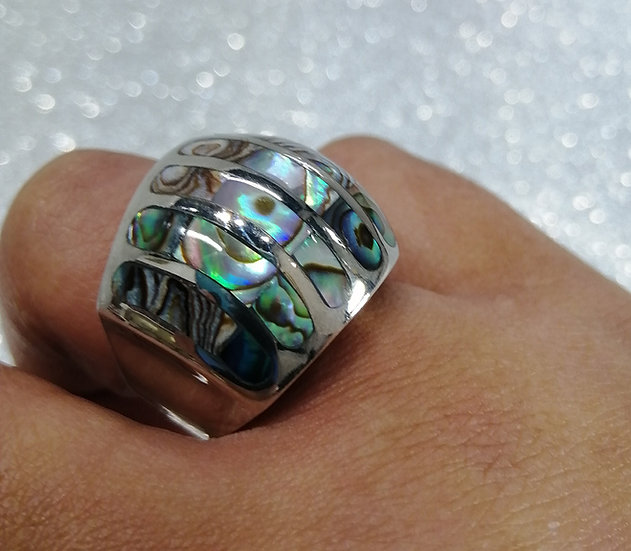 925 Silver Dome Abalone Shell Ring