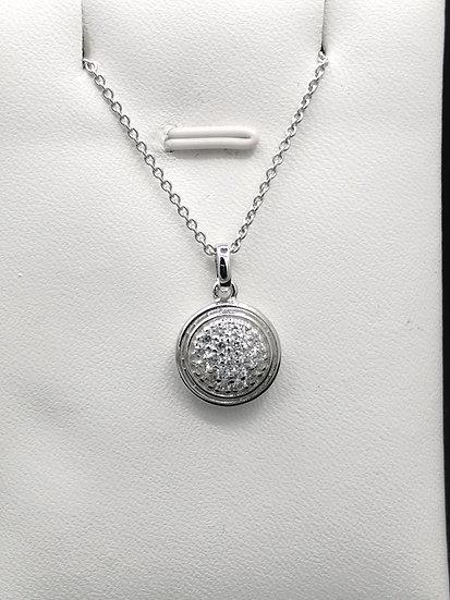 925 Silver Iced CZ Circle Pendant & Chain