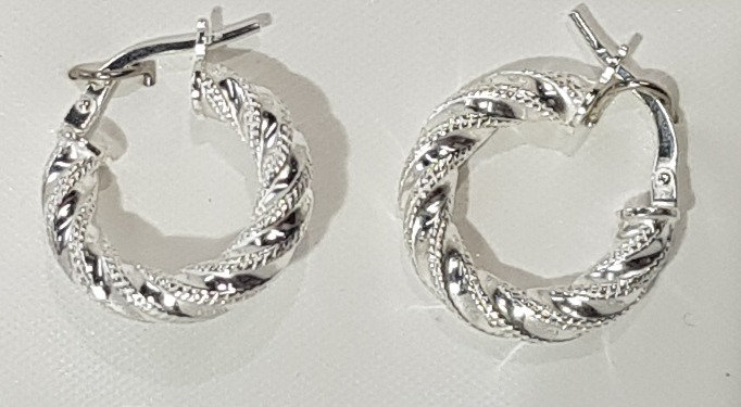 925 Sterling Silver Beaded Twist Hoop Earrings