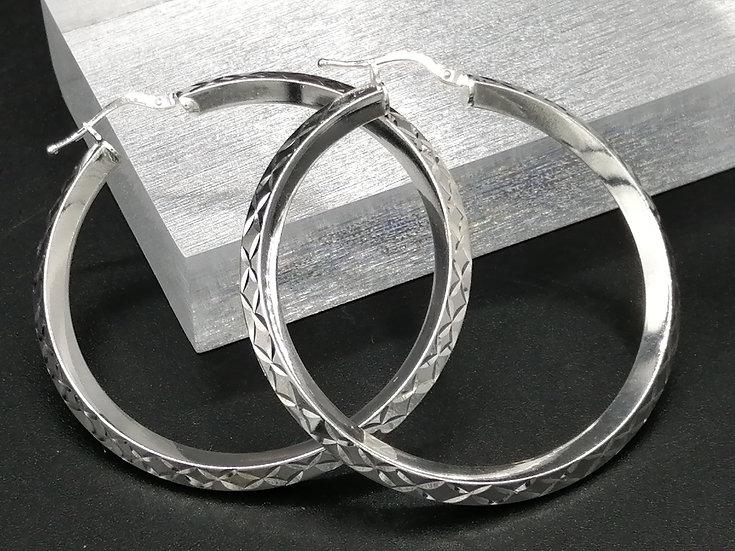 925 Silver D/C & Plain Large Hoop Earrings