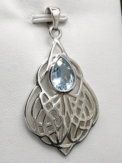 925 Silver Blue Topaz Celtic Tear Drop Pendant