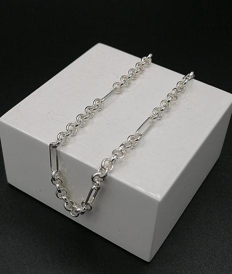 925 Silver Belcher & Bar Ankle Bracelet