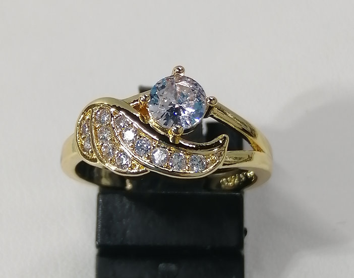 18ct Gold CZ Angel Wing Ring