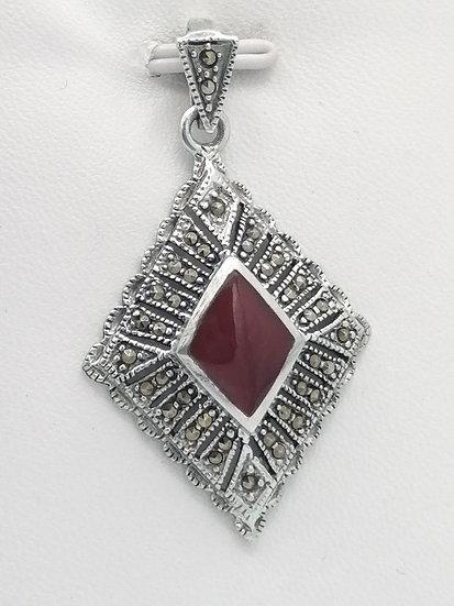 925 Silver Marcasite & Carnelian Pendant