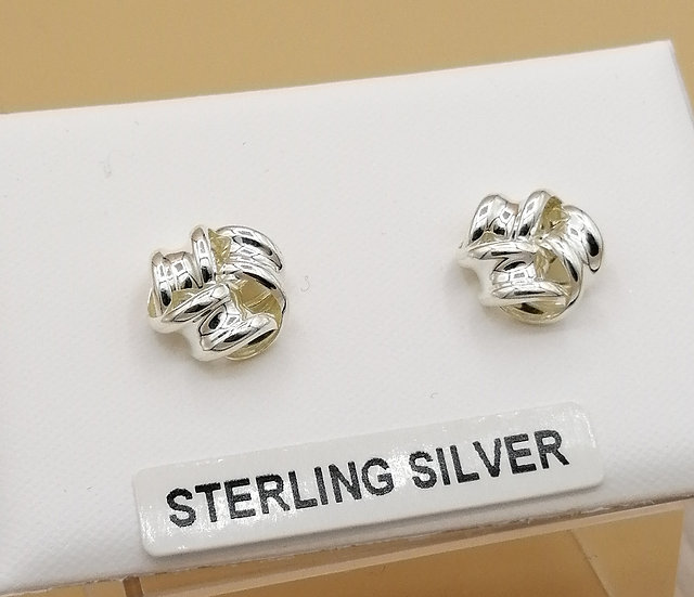 925 Silver 3 Band Knot Earrings