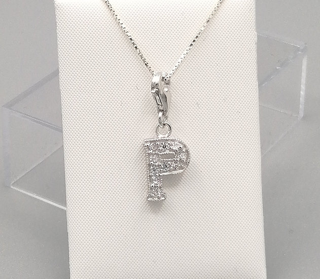 925 Silver Iced CZ Initial 'P'