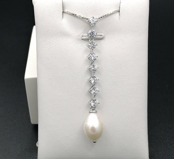 925 Silver CZ Pearl Droplet Pendant