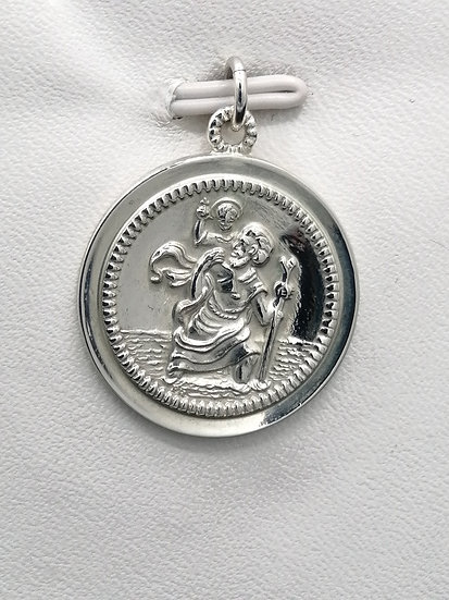 925 Silver Bead Circle St Christopher