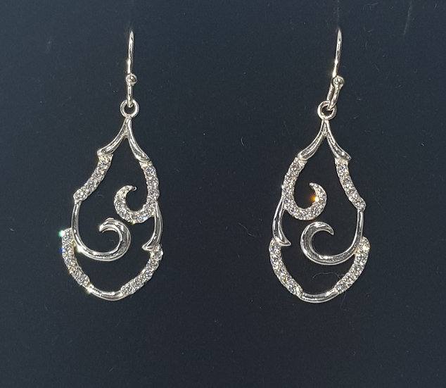 925 Sterling Silver CZ Abstract Drop Earrings