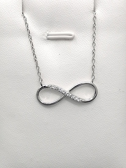 925 Silver CZ Infinity Integral Necklace