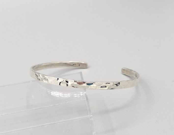 925 Silver Hammered Torque Bangle