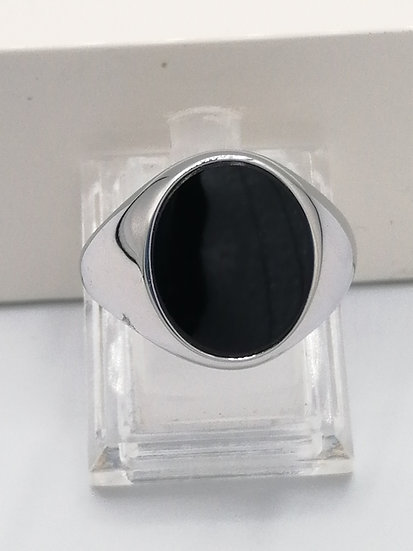 925 Silver Classic Oval Onyx Ring