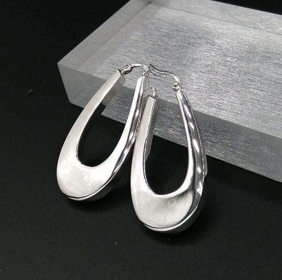 925 Silver Polished Wide U Shape Hoop Earrings