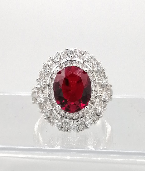 Ruby Red & White CZ Cluster Ring