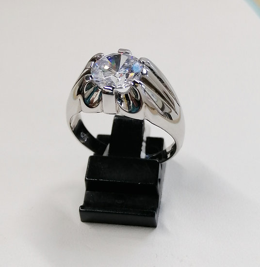 925 Silver CZ 8 Claw Solitaire Ring