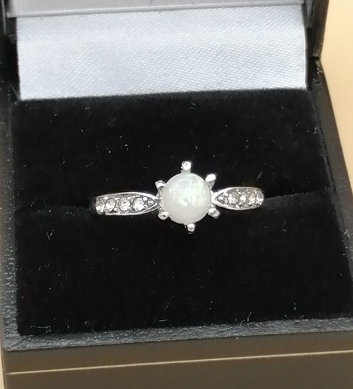 Opal & Crystal Solitaire Ring
