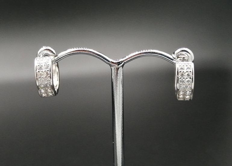 925 Silver CZ Iced Huggie Earrings