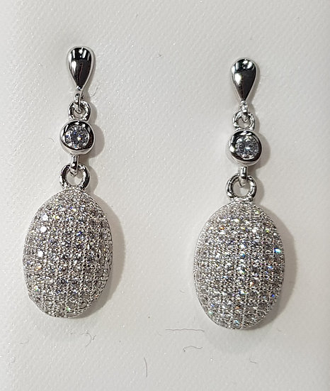 925 Sterling Silver CZ Cluster Dome Earrings